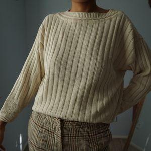 Vintage Cream Eyelet Cutout Sweater